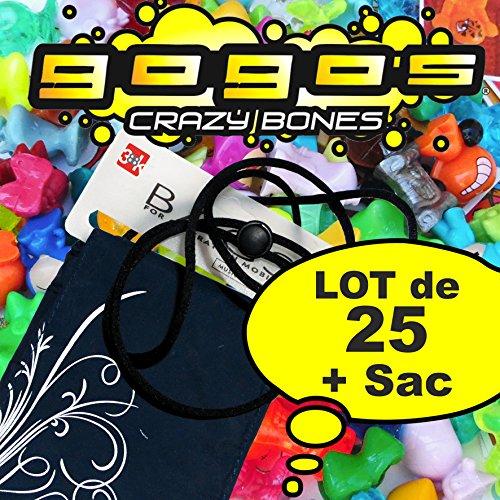 LOT de 25 Gogo's Crazy Bones + Sac bandoulière de transport - Figurine - Toutes séries et hors séries Magic Box (1 à 6, THINGS, FOOT, MUTANT) TONNZ BLINKU PANINI PPI ...