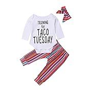 Lamuusaa Newborn Infant Toddler Baby Girl Boy Letter Printed Long Sleeve Romper Bodysuit Pants Hat Fall Winter Outfit (80/6-12M, White+3)