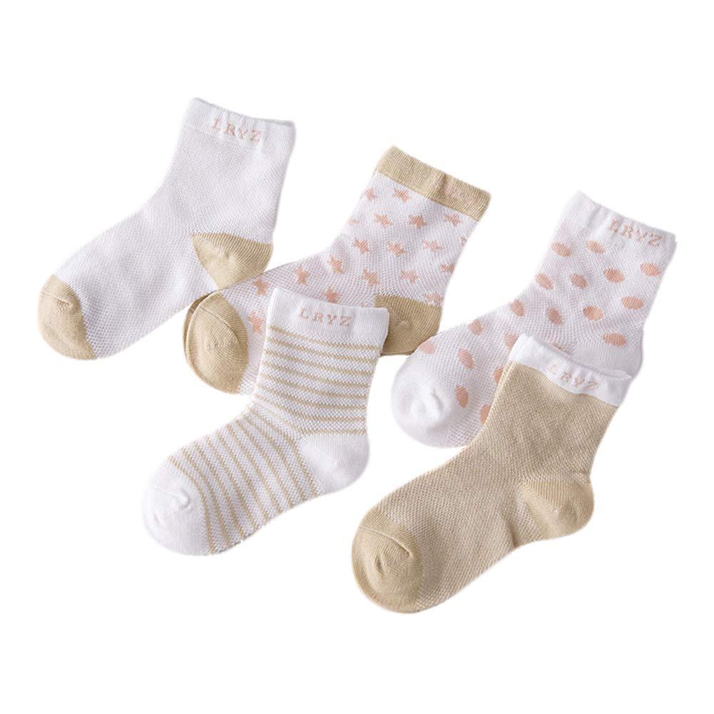 algod/ón ni/ños y ni/ñas Suaves Wimagic 5 Pares de Calcetines de algod/ón para beb/és para ni/ños Transpirables 0-1 A/ños Amarillo Casuales