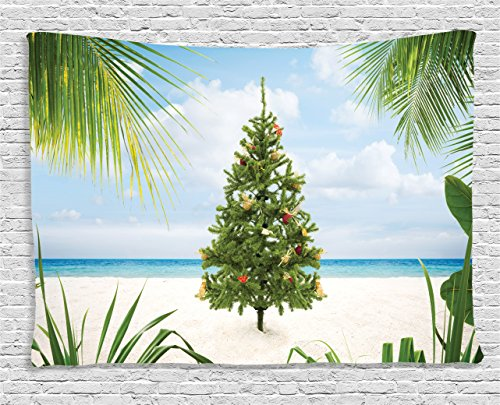 Ambesonne Christmas Decorations Collection, Xmas Tree with Tinsel and Ornaments on Tropical Island Sandy Beach Party, Bedroom Living Room Dorm Wall Hanging Tapestry, 60 X 40 Inches, Green Blue Cream Island Christmas Tree