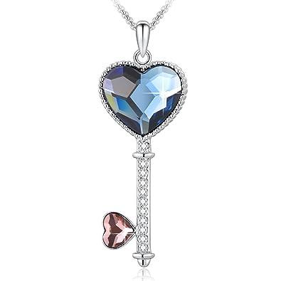 3235e7ac35346 DRMglory Key to Love Collier Pendentif avec Cristaux Swarovski Elements,  Cadeau de Bijoux de Mode