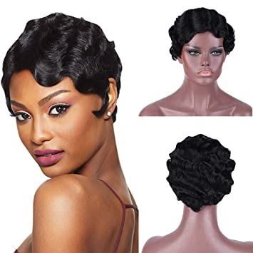 Amazon Com Human Hair Finger Waves Wigs For Black Women Short Bob Water Wave Curly Wavy Pixie Cut Wigs Mommy Daily Party 1920s Wig Natural Black Color Beauty