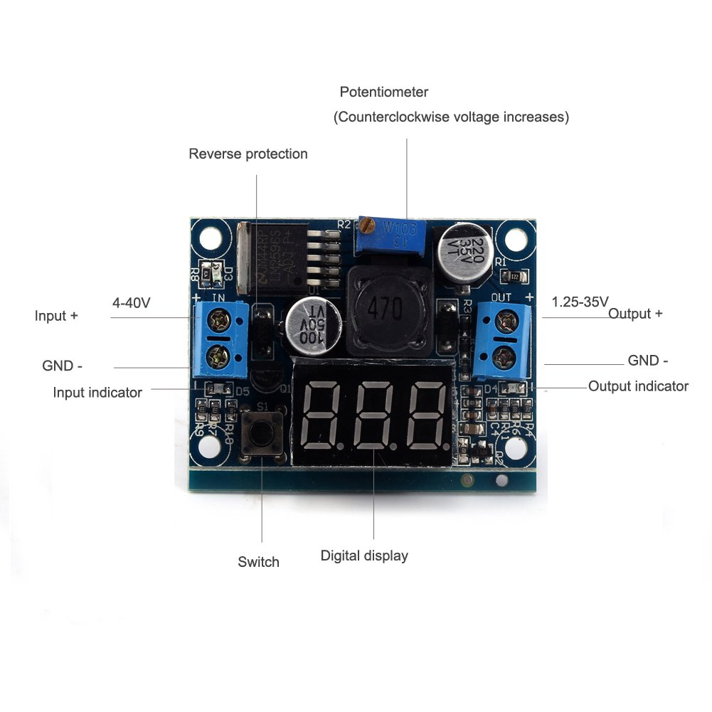 Bnoia Lm2596 Dc Buck Converter 45 40v To 12 35v 3a Semiconductors And Digital Electronics In An Easy Understand Step Down Voltage Control Adjustable Regulator Module With Led Voltmeter Office