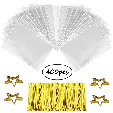400 Bolsas de Celofán, SWZY Transparentes Bolsas Clear Treat Bags OPP Bolsas Celofán Lazos de 800(color randomly), para Regalo Bolsa, Bolsa de Dulces, ...