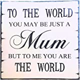 """OULII Mothers Day Birthday Christmas Gift Vintage Wall Plaque Sign """"To the world you may be just a mum but to me ..."""""""