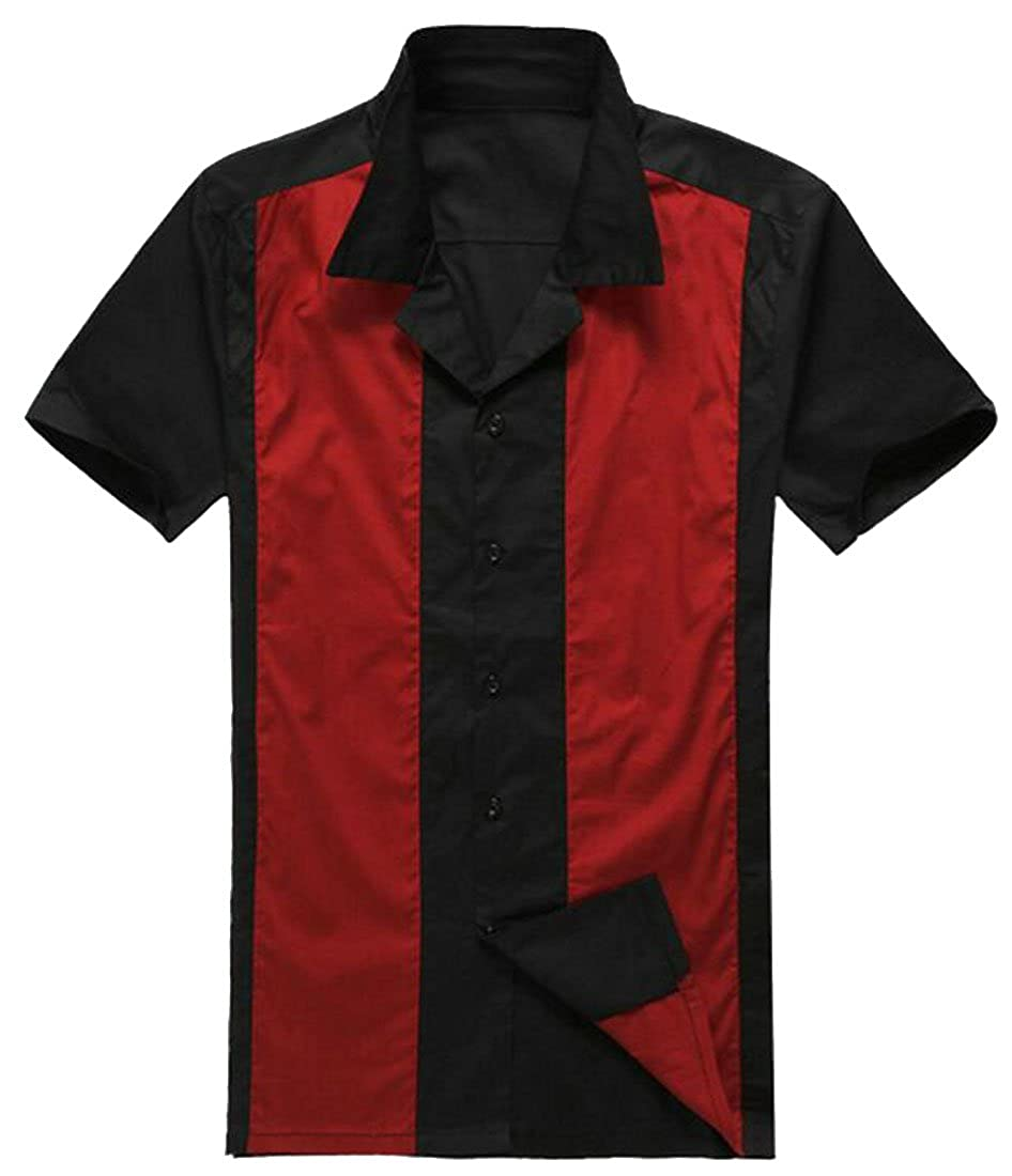 Pandapang Mens Casual Big and Tall Punk Short Sleeve Contrast No-Iron Dress Shirts