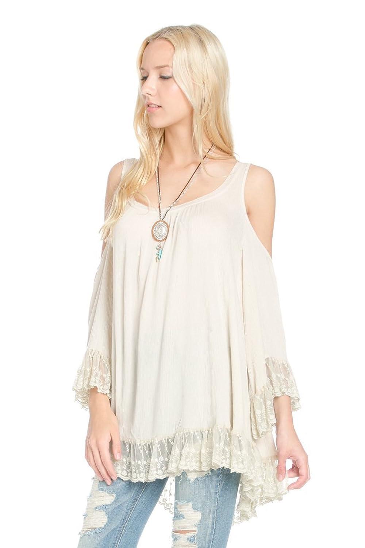 Ciel Women's cold shoulder peasant lace top