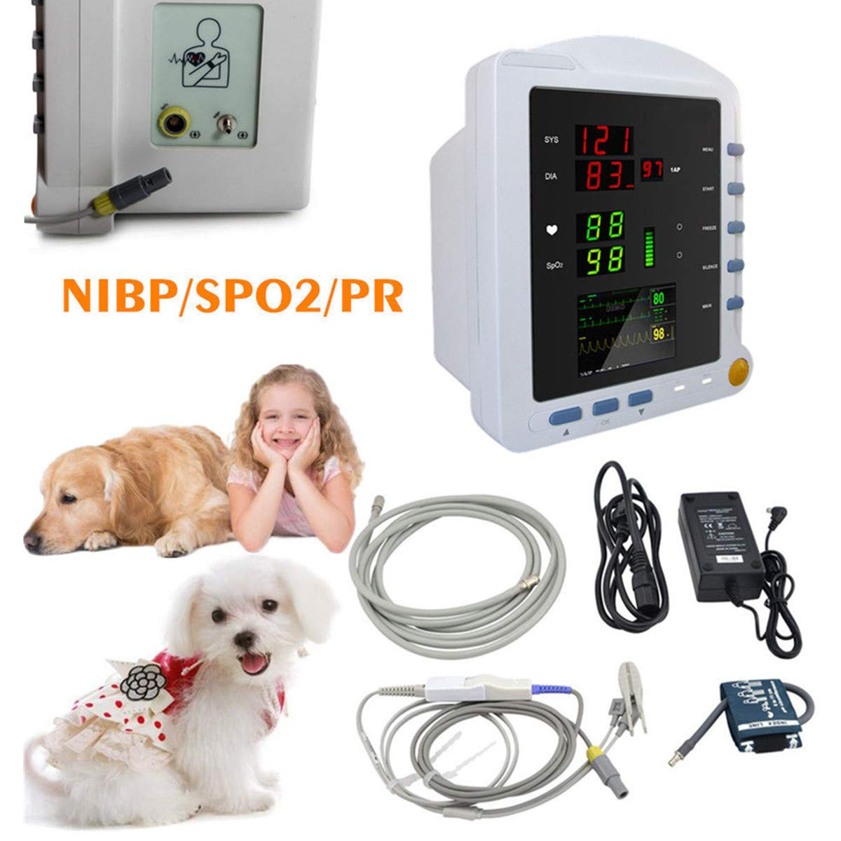 CMS5100 Vital Signs ICU Veterinary Patient Monitor NIBP SPO2 Pulse Rate 2.8 Inch