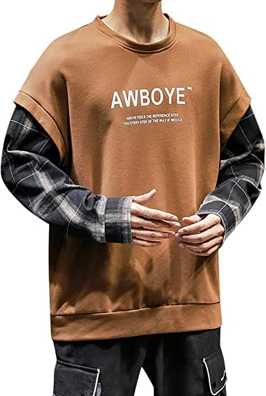 Mens Autumn Long Sleeve Sweatshirt Daily Loose Casual Fit Simple Shirt Patchwork O-Neck Outdoor Sportwear Sweatershirt Tops