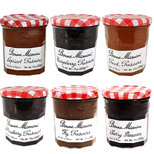 Bonne Maman 6 Flavors 13 oz Jars Preserves Jam Variety Pack (Four Fruits)