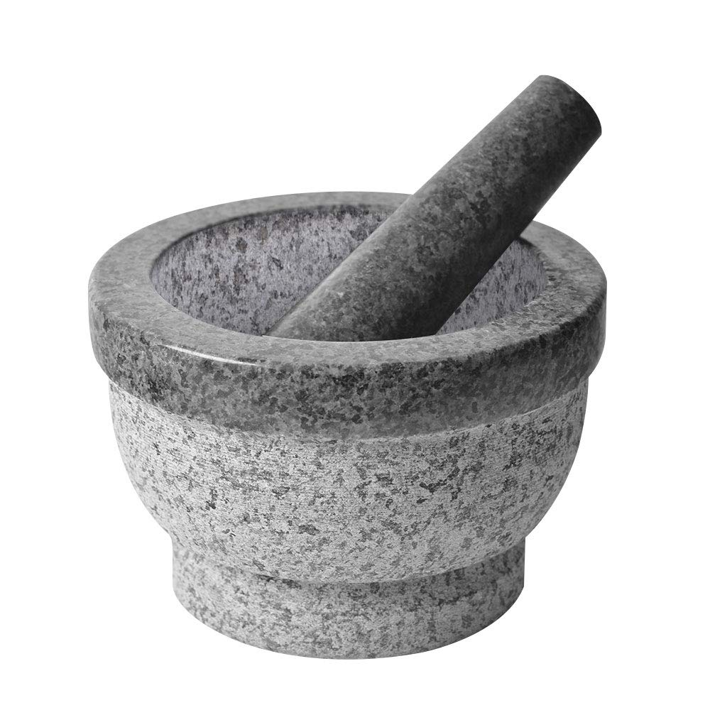 SZUAH Solid Granite Mortar and Pestle Set, Natural Excellent Granite Grinder Set, for Spices, Seasonings, Pastes, Pesto and Guacamole (6