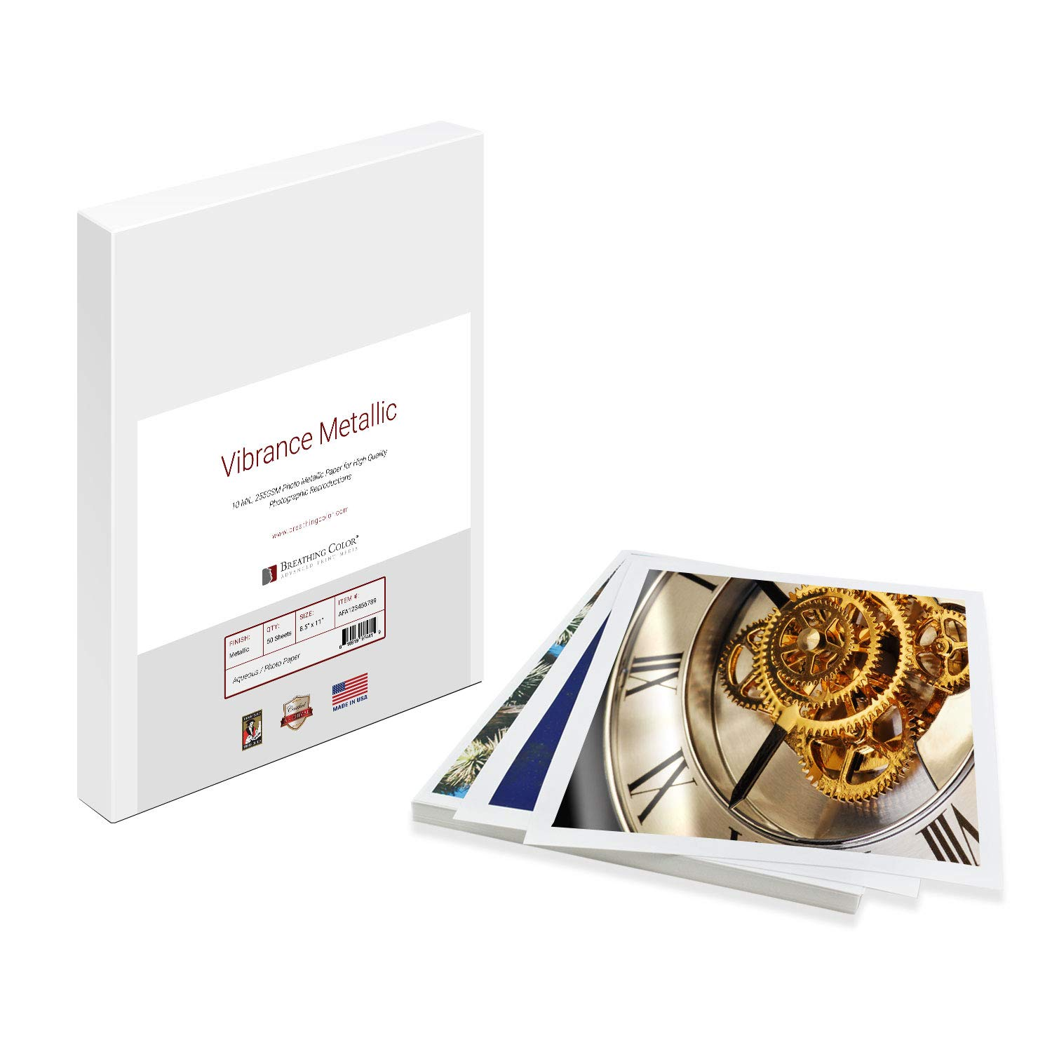 Vibrance Metallic Photo Printer Paper 10 mil 255 gsm Premium Photo Paper Sheets 13 x 19 inches 50 Sheets Works with All Inkjet Printers Including Professional Makes and Models Like Epson Canon HP