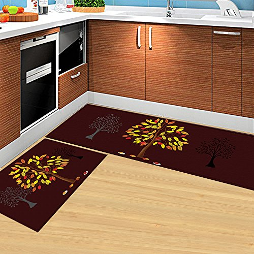HEBE Kitchen Rugs Set of 2 Piece Non-Skid Kitchen Mats and Rugs Machine Washable Kitchen Rug Runner Doormats Set(16''x47''+16''x24'', Brown) by HEBE