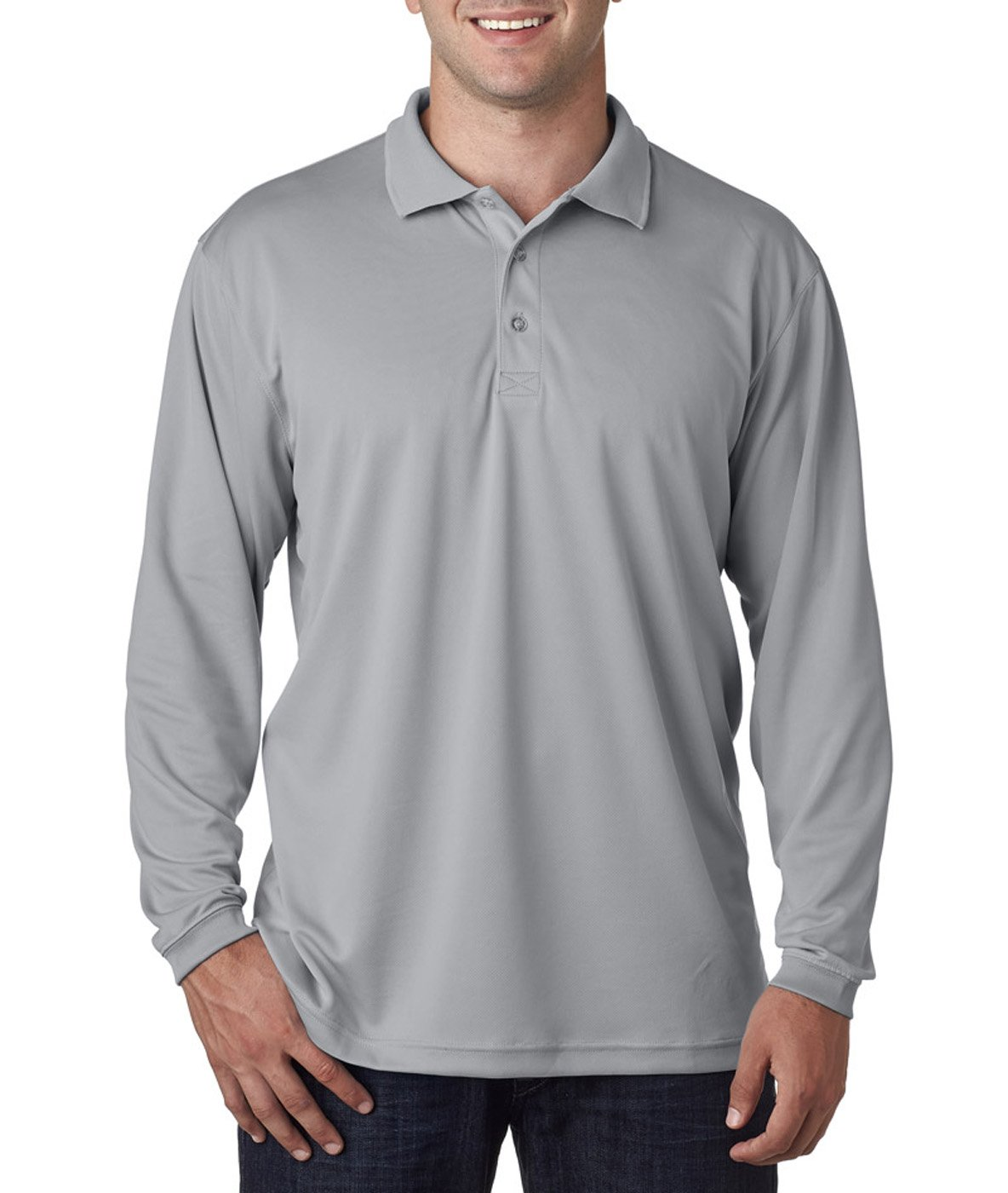 UltraClub@ Adult Cool - Dry Mesh Sport Long-Sleeve Polo - Grey - 3XL