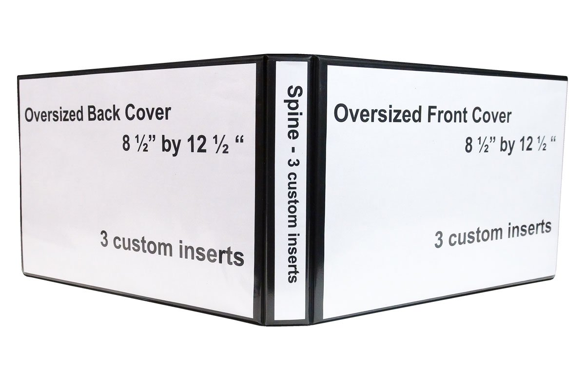 """1"""" Heavy Duty Landscape Binder - Black vinyl - Holds text in horizontal format - Overlay inserts for the front, spine and back with inside pockets - Great for engineering drawings, city planning, by LandscapeBinder-com (Image #2)"""