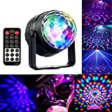 Disco Ball Party Light, 5W RGBWP LED Crystal Rotating Strobe Lamp Mini Magic DJ Lighting Sound Activated Club Karaoke Stage Lights Party Supplies