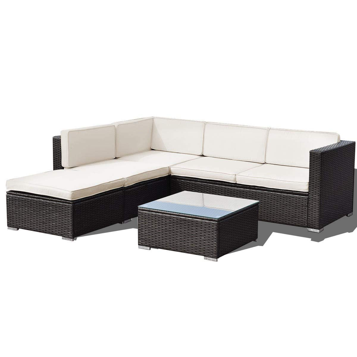MD Group 4 pcs Patio Rattan Cushioned Furniture Set
