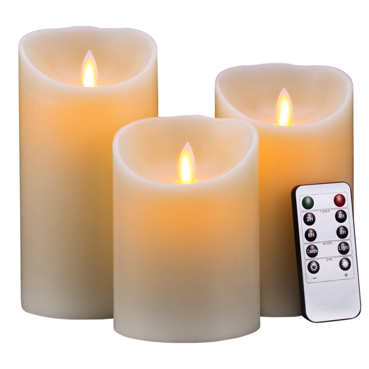 "Flameless Candles, Super Long Battery Life 400 Hours Lighting Time 2C Cell Battery Operated LED Flickering Pillar Candles Diameter 3.5'' Height 5""6""7"" with Remote Timer by Hausware"