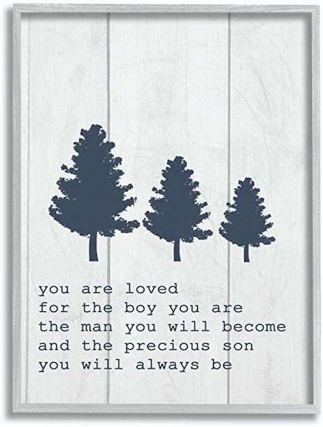 Stupell Industries You Are Loved Son Three Tree Planks Grey Framed Wall Art 11 X 14 Design By Artist Daphne Polselli Home Kitchen