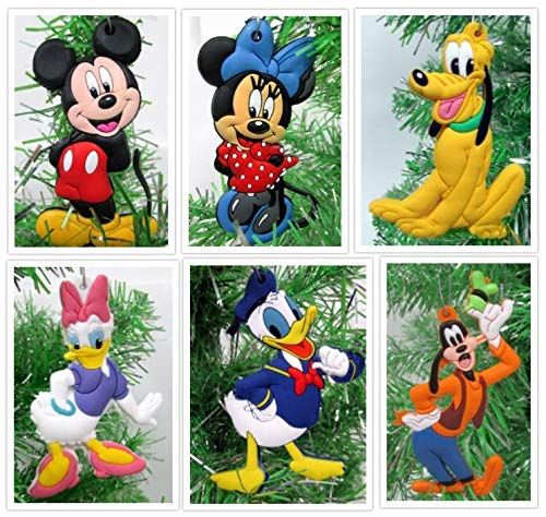 Mickey Mouse 6 Piece Ornament Set Featuring Mickey Mouse, Minnie Mouse, Donald Duck, Daisy Duck, Goofy and Pluto - Unique Shatterproof Plastic Design - Great for Kids