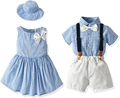 Amazon.com: Tem Doger Toddler Girls Sleeveless Dresses Boys Shorts Set  Sister and Brother Maching Outfit Skirt Sets Overalls Clothes: Clothing