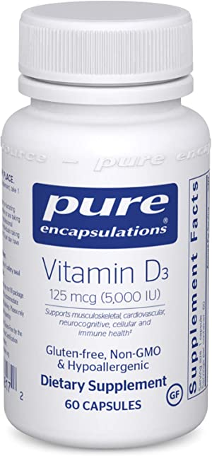 Pure Encapsulations Vitamin D3 125 mcg (5,000 IU)   Supplement to Support Bone, Joint, Breast, Prostate, Heart, Colon and Immune Health*   60 Capsules