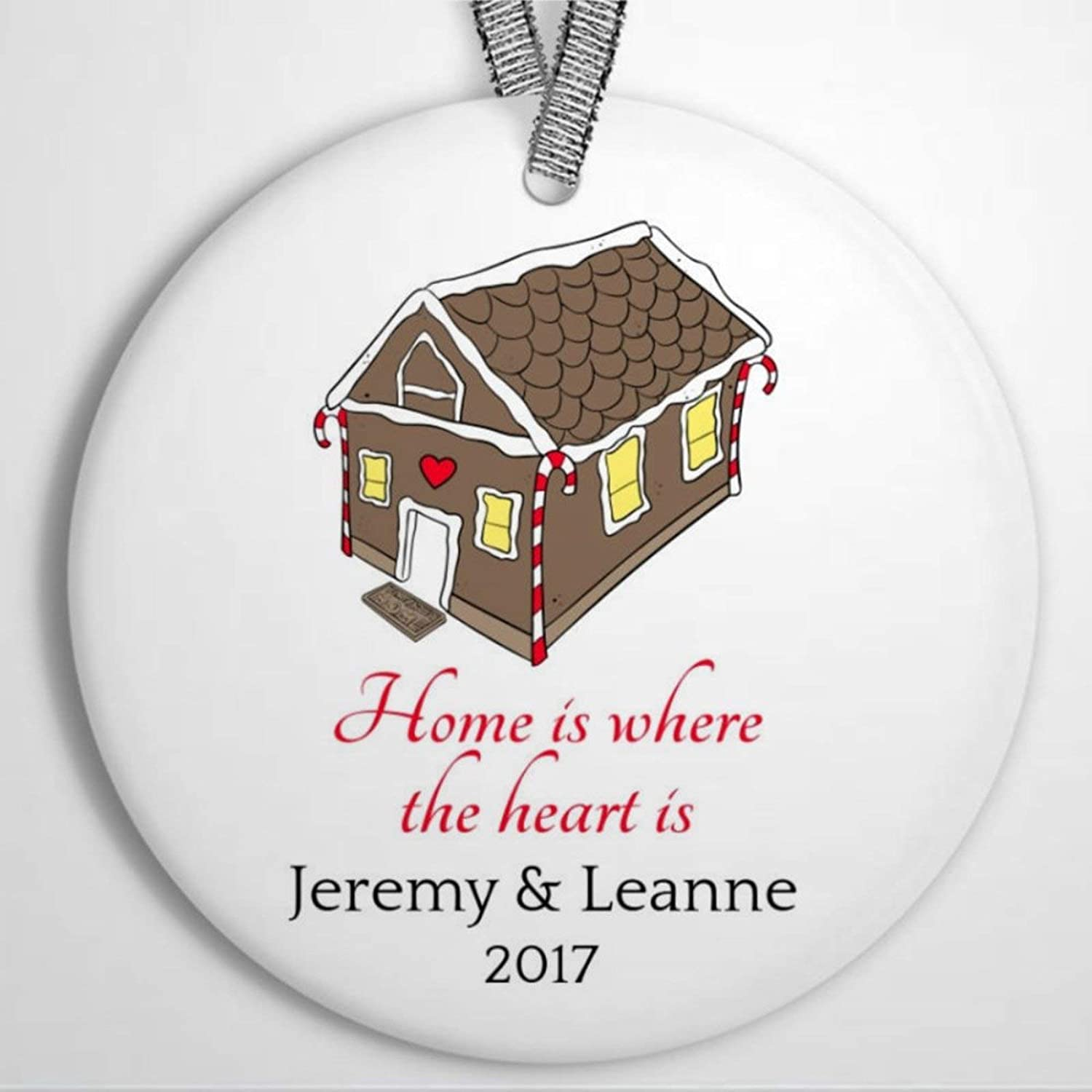 DONL9BAUER Home is Where The Heart Custom Christmas Ornament,House Love Holiday Ceramic Tree Hanging Keepsake Ornament Present for Family,Friends,Couple &Engagement Party.