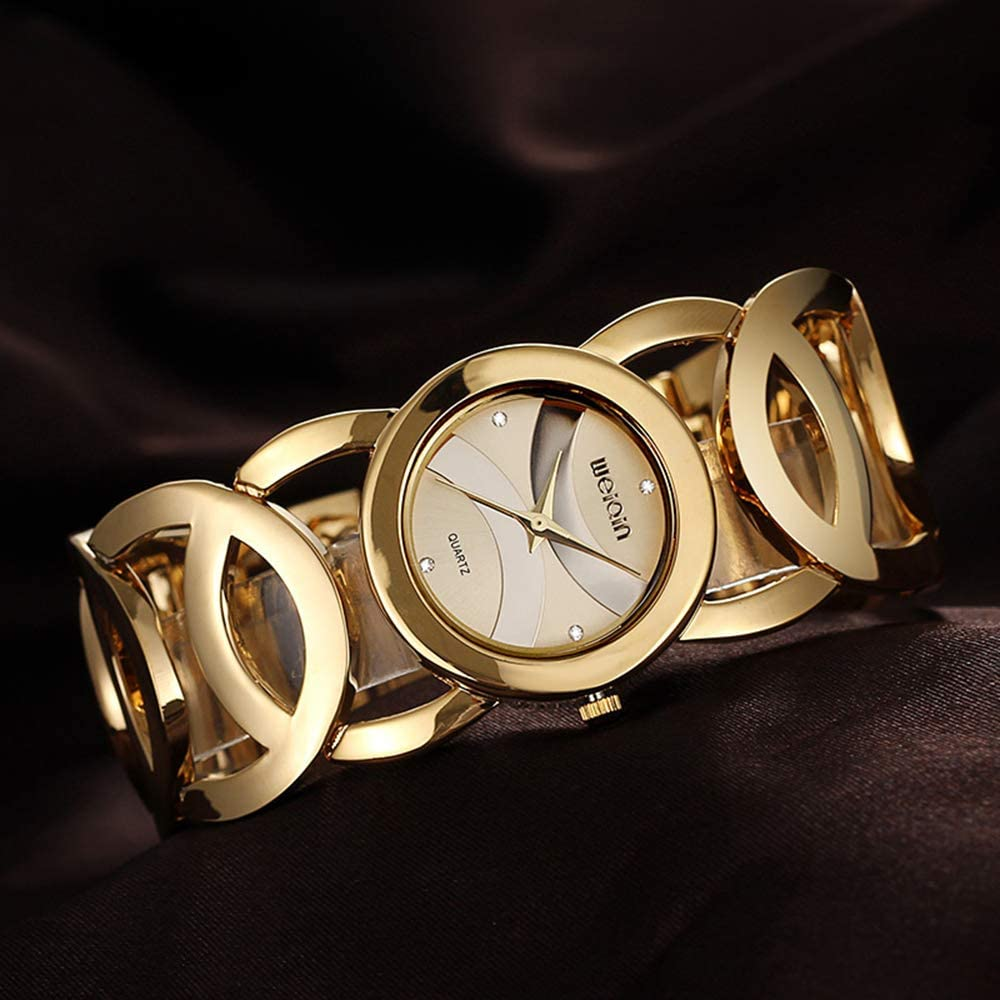 Women s Hollow Circles Band Bracelet Watches, Rhinestone Scale Luxury Wrist Watches for Ladies, Gold