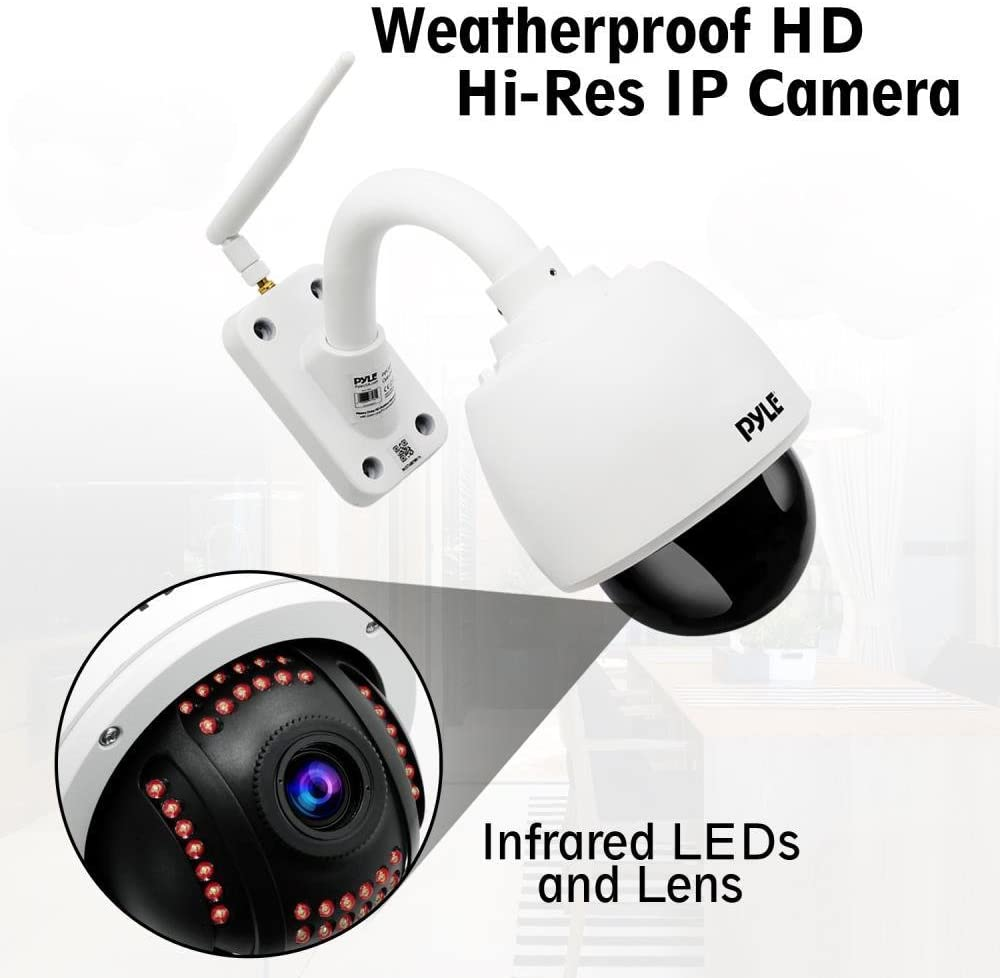 Outdoor IP Camera Optical Zoom - 960p HD Weatherproof Wireless Remote Home WiFi Security Surveillance h.264 ONVIF Video - Outside PTZ Pan Tilt Dome 4X Zoom for PC iOS and Android - Pyle PIPCAMHD46