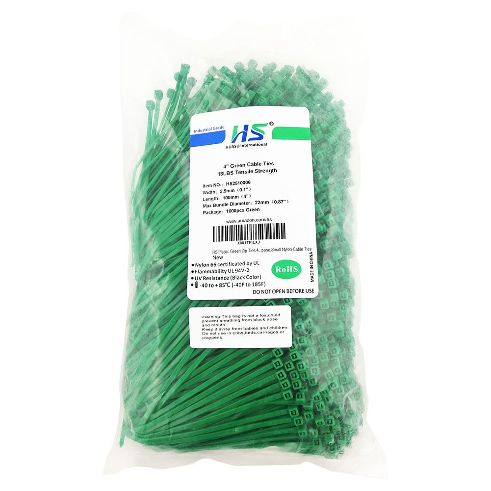Green,Yellow, Black, White, Blue, Red HS Multi Color Zip Ties Small Self Locking Nylon Ties Assorted 6 Colors 4,Bulk 600 Pack
