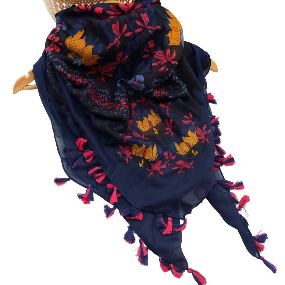 Women Cotton Square Scarf Ladies Polyester Wraps Soft Head Kerchief Tassels Viscose Square Thin Shawls Spring Autumn (Dark Blue)