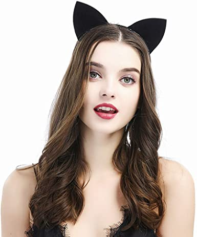 Black Glitter Cat Woman/'s Cat Ears Headpiece Hat Halloween Fancy Dress Headdress