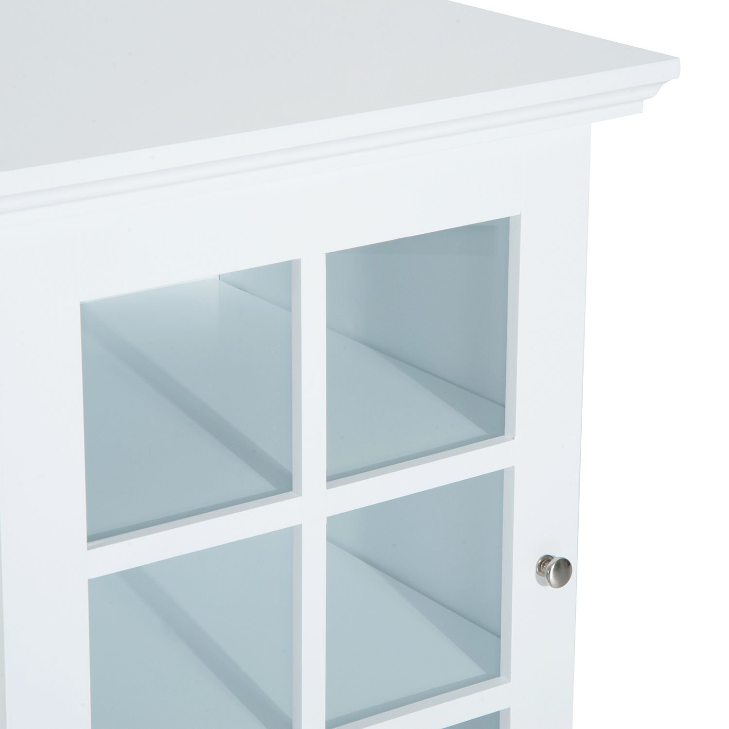 New White Wood Cabinet Storage Hutch Kitchen Bathroom Bedroom Single Glassed Door Shelves by totoshop (Image #7)