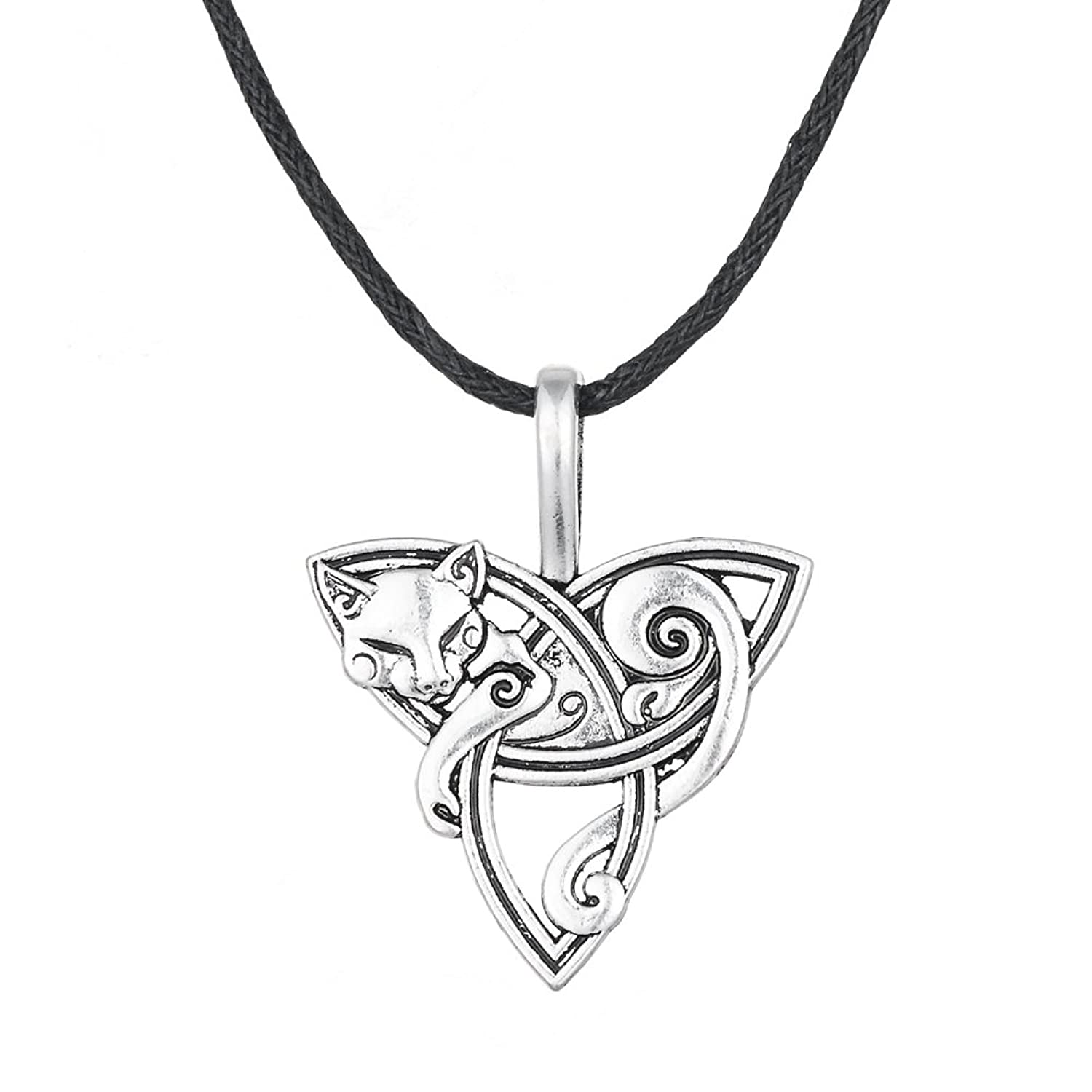 Wicca Wild Irish Knot Animal Fox Head Smart Symbol Pendant Necklace Jewelry for Men and Women