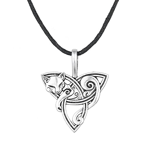 Wicca Wild Irish Knot Animal Fox Head Smart Symbol Pendant Necklace