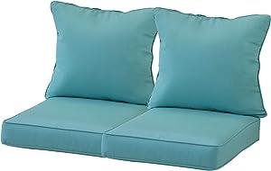 "Aoodor 24"" x 24"" Patio Furniture Outdoor Deep Seat Single Chair Sofa Cushion Back Olefin Fabric Slipcover Sponge Foam - Blue Color Pack of 4"