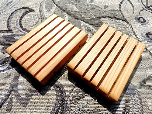 Cedar Wood Soap Saver 2 pcs Dish Holder Hand Made in the USA Finished with 100% Pure Mineral Oil by Clover Garden Soaps