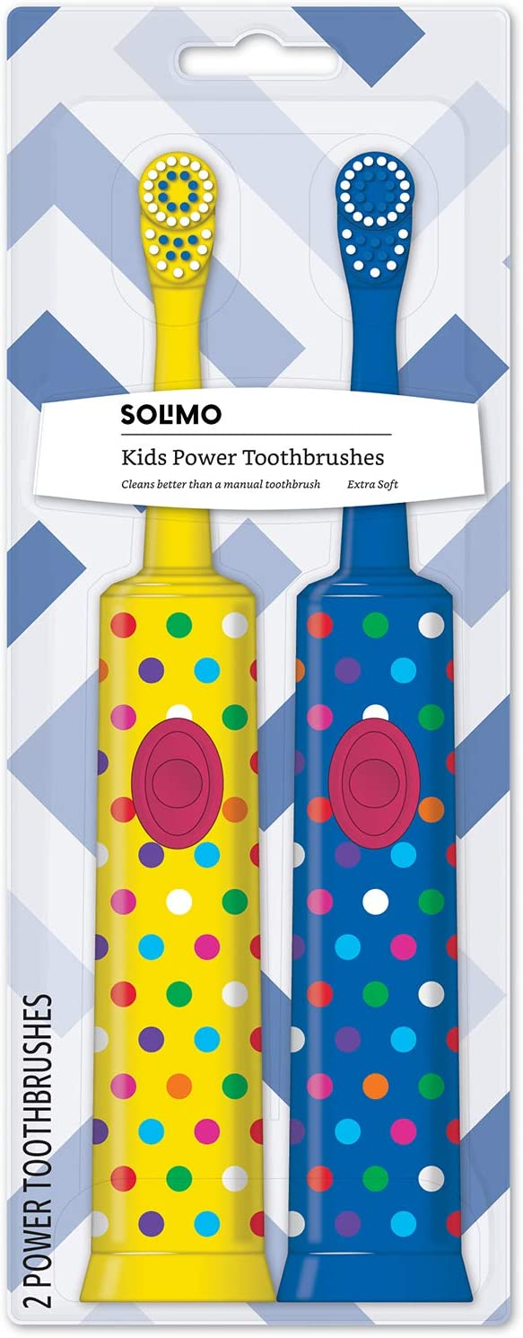 Solimo Battery-Powered 1 Yellow and 1 Blue Electric Toothbrush for Kids