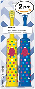 Amazon Brand - Solimo Kids Battery Powered Toothbrush, 2 Count