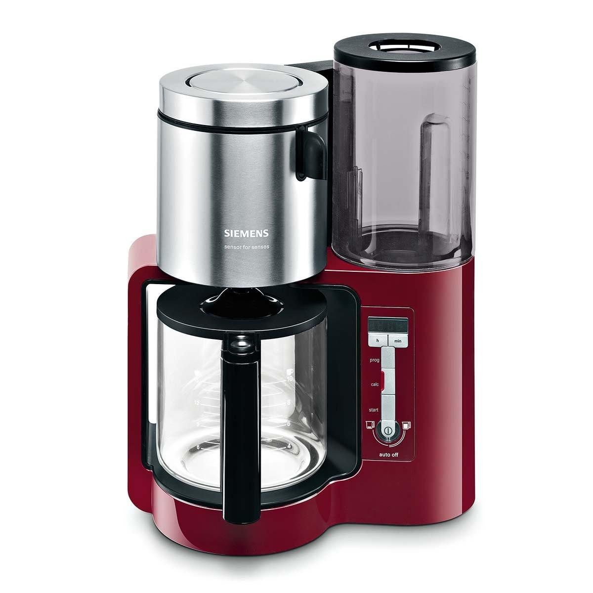 Siemens TC86304 - Cafetera automática (1160 W, 10-15 tazas), color rojo