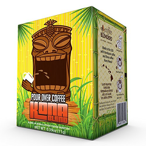 Coffee Blenders All Natural Kona Blend Pour Over Drip Cup Coffee, 10 Single Serve Pouches, 11 grams per pouch
