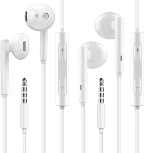 Phone Earbuds,Wired Headphones with Microphone,2 Pack Noise Isolating High Definition Stereo 3.5mm Jack in-Ear Earphones Compatible with iPhone 6s/6 Plus/SE and Android Smartphones, iPod, iPad, MP3