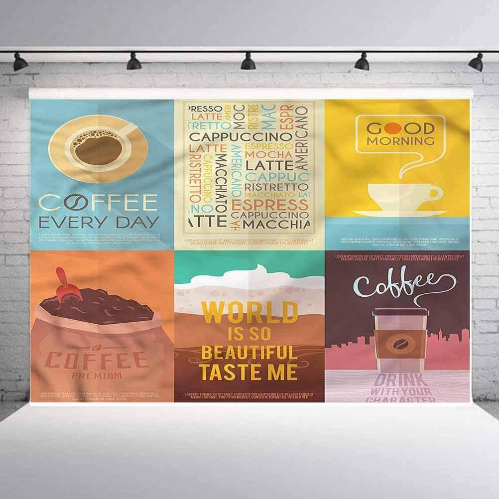 5x5FT Vinyl Photo Backdrops,Coffee,Typographic Artworks Vintage Photoshoot Props Photo Background Studio Prop