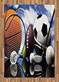 Sports Area Rug by Lunarable, Sports Equipment Football Soccer Darts Ice Hockey Baseball Basketball Theme, Flat Woven Accent Rug for Living Room Bedroom Dining Room, 5.2 x 7.5 FT, Black Orange Blue