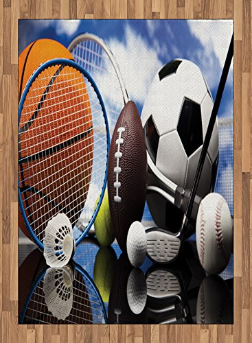 Sports Area Rug by Lunarable, Sports Equipment Football Soccer Darts Ice Hockey Baseball Basketball Theme, Flat Woven Accent Rug for Living Room Bedroom Dining Room, 5.2 x 7.5 FT, Black Orange Blue by Lunarable
