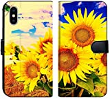 Apple iPhone Xs MAX Flip Fabric Wallet Case Image 27372923 Hand Paint Picture with Sunflowers