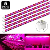 LVJING 60W T8 LED Grow Tube 4 Feet, Indoor Plant Grow Light Fixture for Hydroponic Greenhouse Veg Flower, 5 Pack