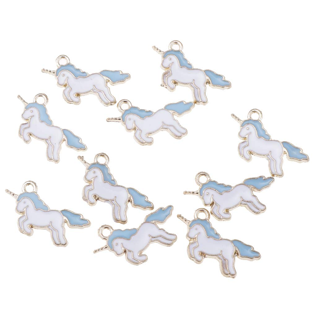 Blue 2.2 x 1.3cm Prettyia 10 Pieces nicorn Charms Pendant Beads Enamel Gifts Jewellery Making Pendant