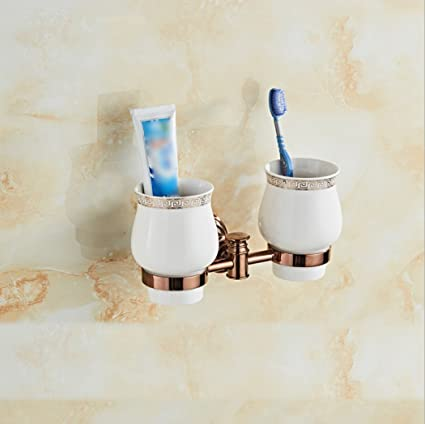 LD&P Accesorios de baño Soporte de cepillo de dientes doble, Estilo contemporáneo Rose colorceramics Copa de ...