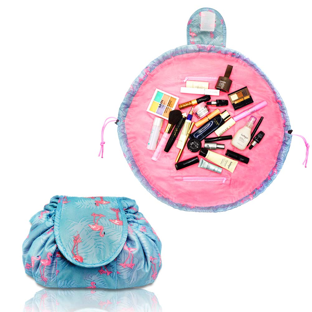 Lazy Drawstring Make up Bag Portable Large Travel Cosmetic Bag Pouch Travel Makeup Pouch Storage Organiser for Women Girl (Flamingo)  Price: £4.50